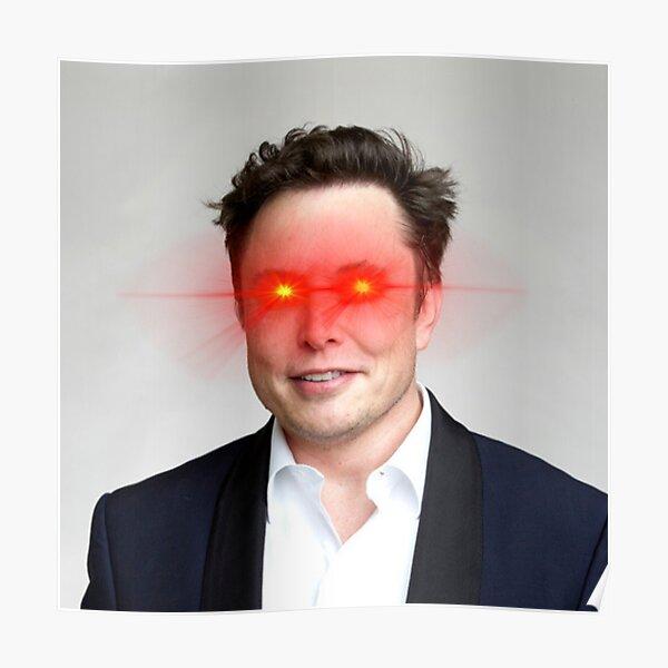 Elons Musk portant les Laser Eyes - Bitcoin