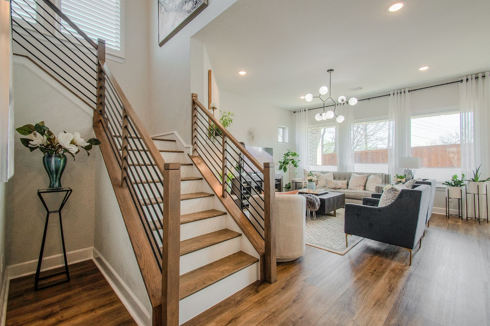 design by keti dallas tx design process open concept moder living area with staircase decorating