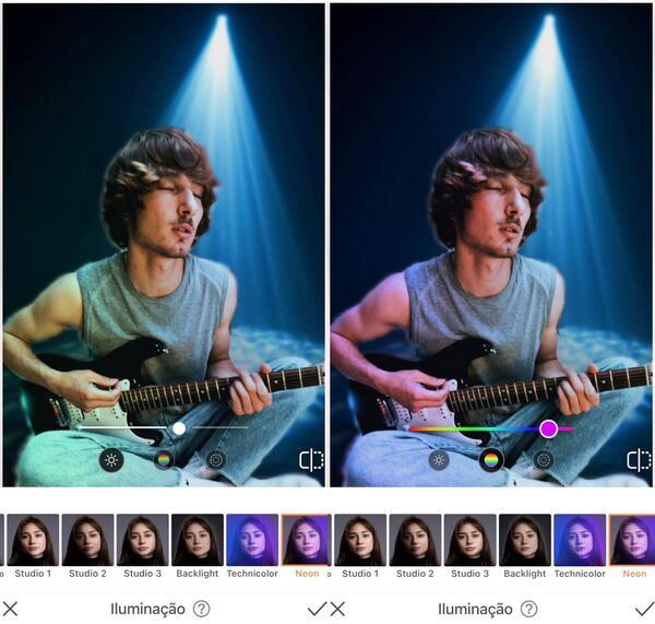 Foto de um homem tocando guitarra, agora em um fundo com luz azul sendo editada pelo AirBrush com a ferramenta Iluminação