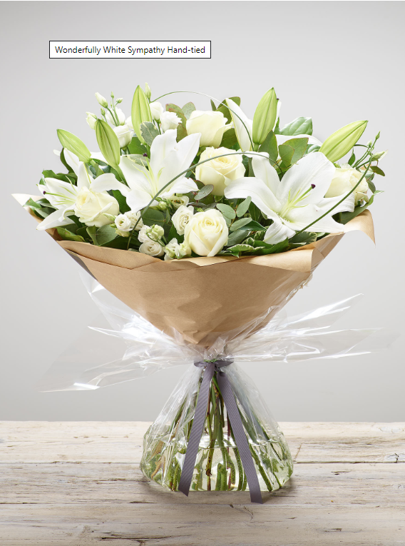 Bouquet of white roses and lilies