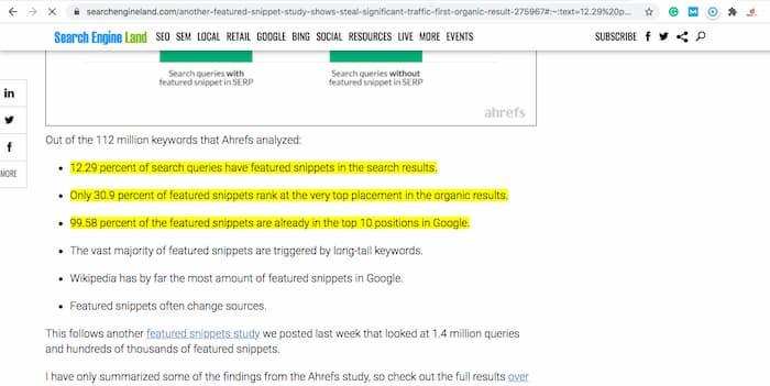 Ví dụ về Google đánh dấu các đoạn để trả lời một câu hỏi trong một truy vấn tìm kiếm