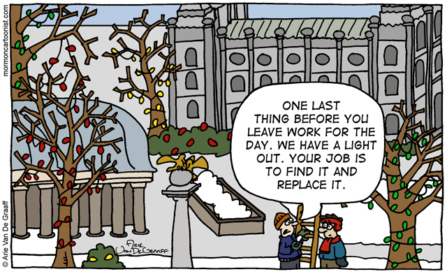 temple square christmas lights cartoon