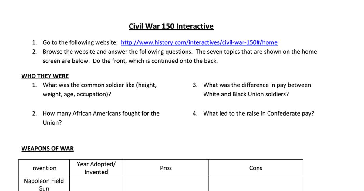 Collection of Civil War Battles Worksheet Sharebrowse – Civil War Worksheets