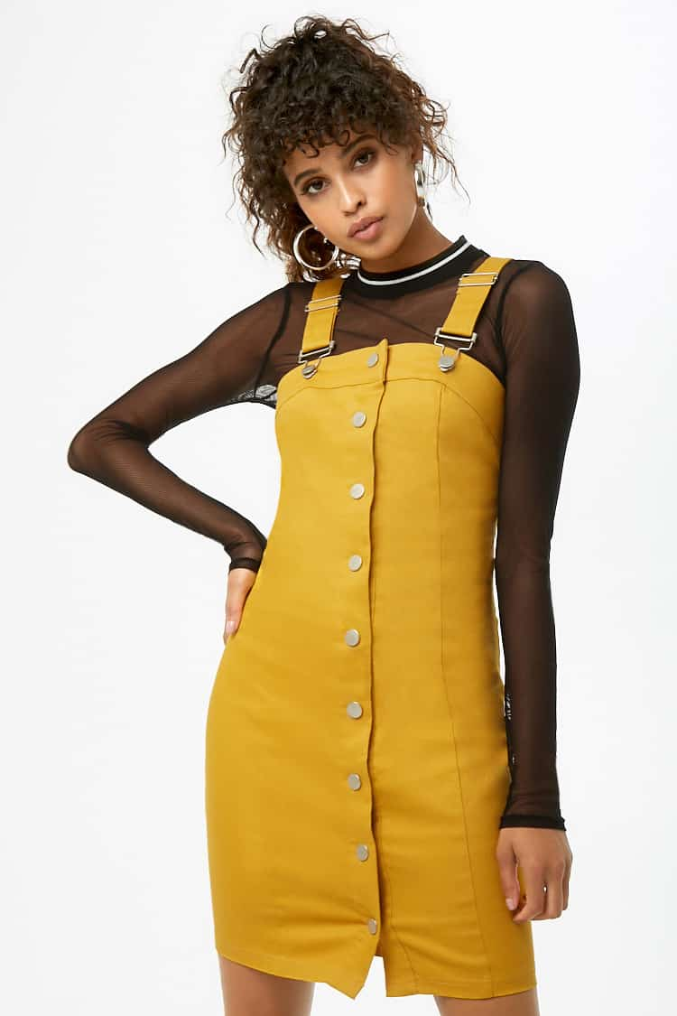 Denim Overall Button-Front Mini Dress