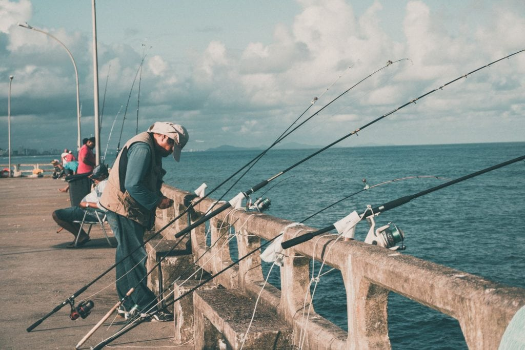 Man Fishing on a Pier
