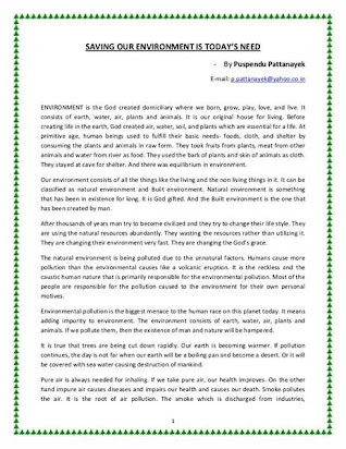 Essay On Save Environment Save Earth In Hindi