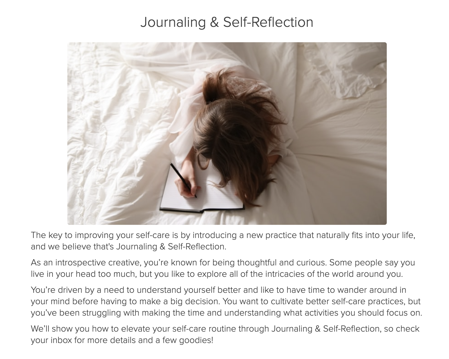 journaling and self-reflection self-care quiz results