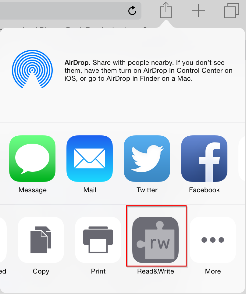 RW for iPad Web Toolbar Access with rectangles
