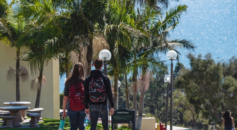 Students walk the campus at Pepperdine University in Malibu, CA.