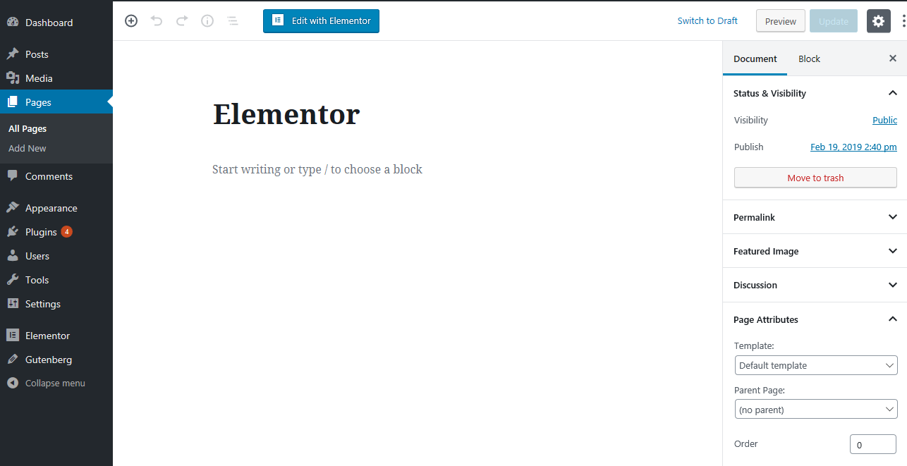Create A Page With Elementor: