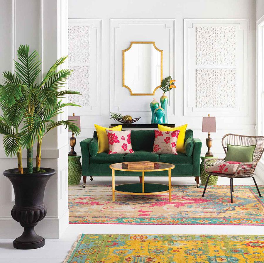 Inspirasi penggunaan palet warna pada ruangan bertema tropical - source: flooringamerica.com