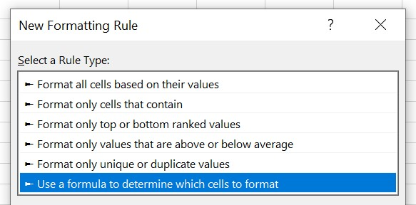 use formula to determine cells to format
