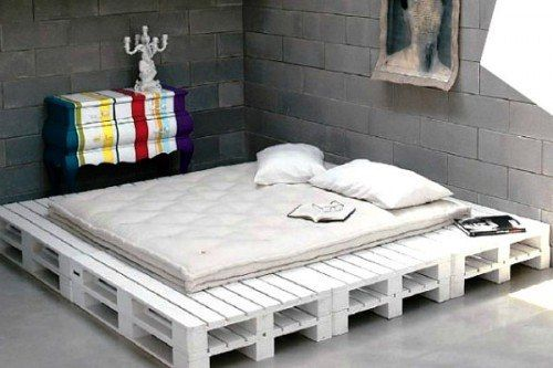 DIY Ideas with White Wood Pallets in Gray Background