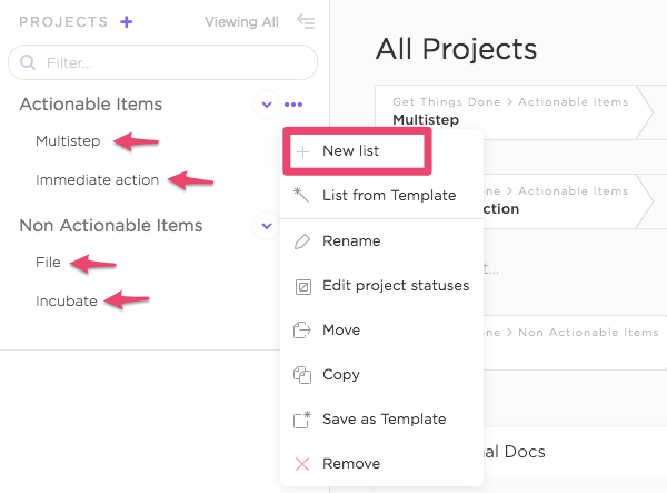 creating a new list in clickup
