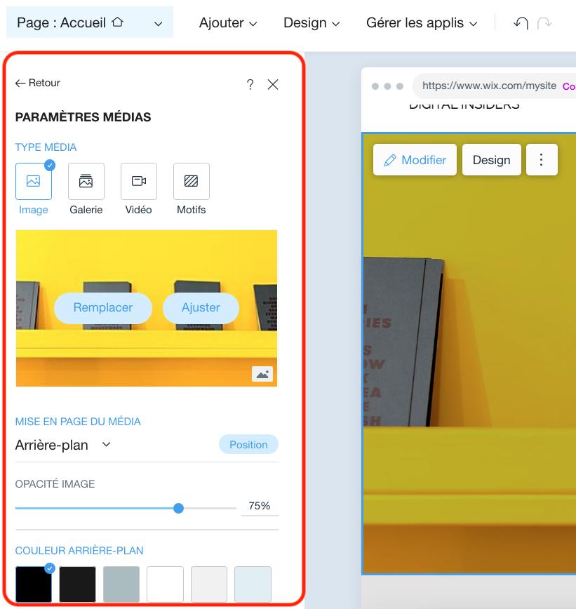 Ajout d'images, de diaporamas et d'autres fonctionnalités visuelles WIX