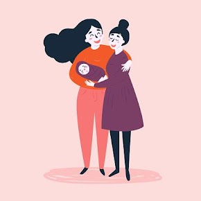 [Image is a drawing of two adults holding a swaddled baby and embracing. One adult has long flowing black hair, a red shirt and pink pants. The other adult is wearing a purple dress and has black hair in a bun. They are both smiling and blushing. The background is light pink.]