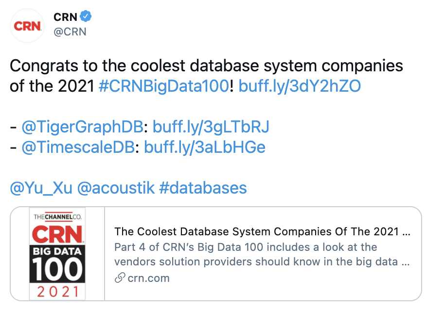 Screenshot of tweet by CRN mentioning TimescaleDB and TigerGraphDB as the coolest database system companies