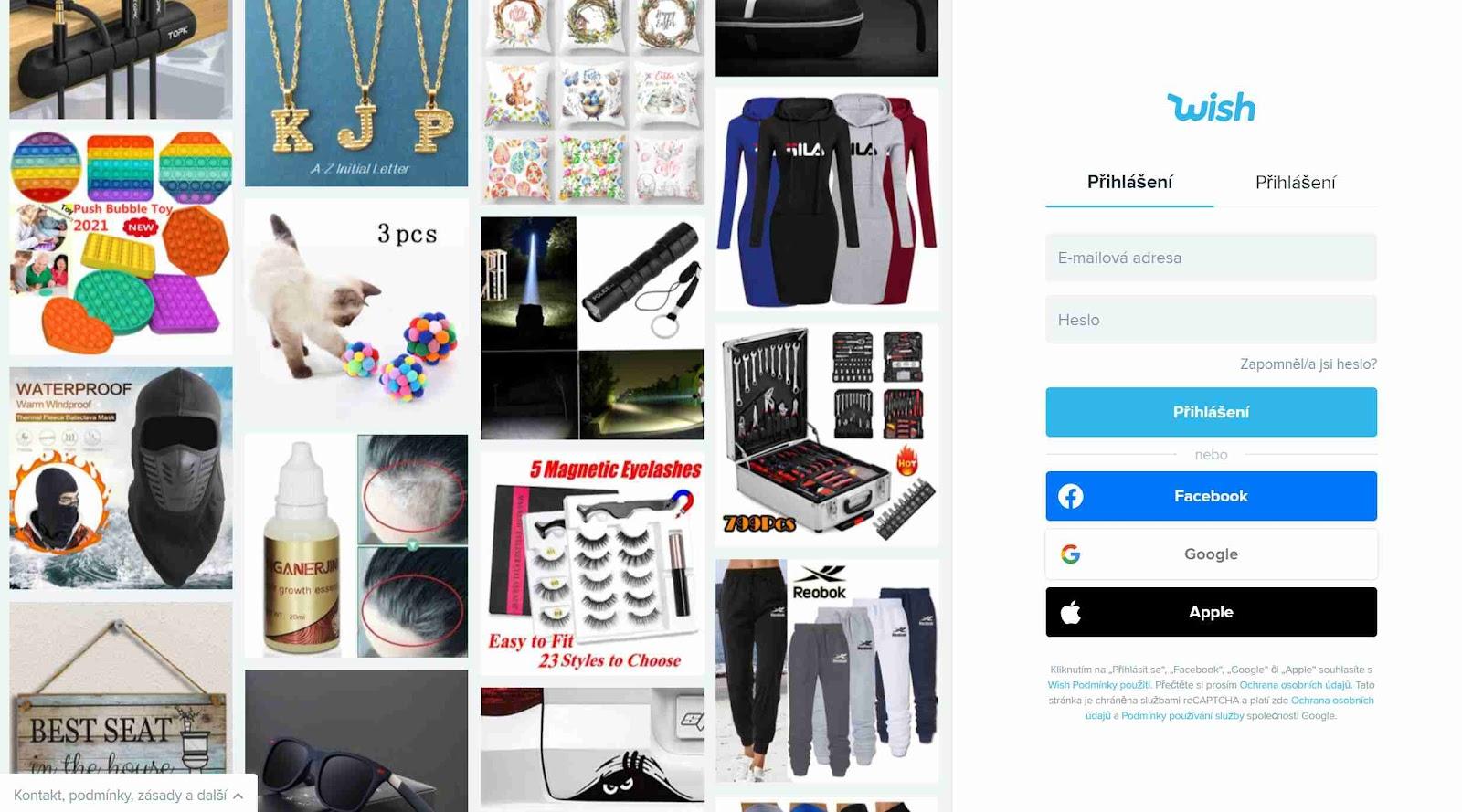 E-shop Wish, nákupní online galerie, čínský e-shop, oblečení, boty, šperky, krmení, domácí potřeby, doplňky, elektronika