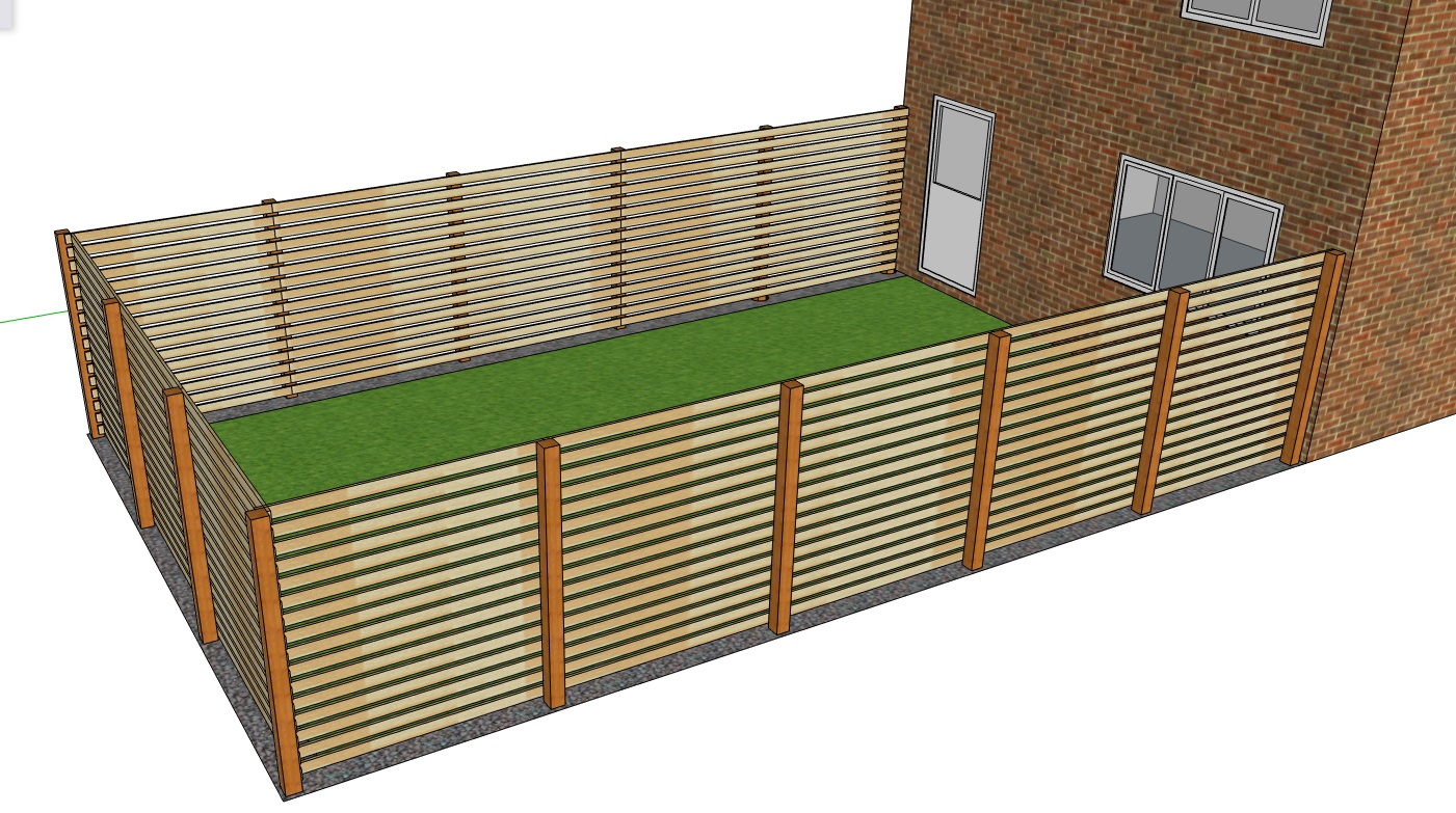 A 3D model of a one sided slatted fence