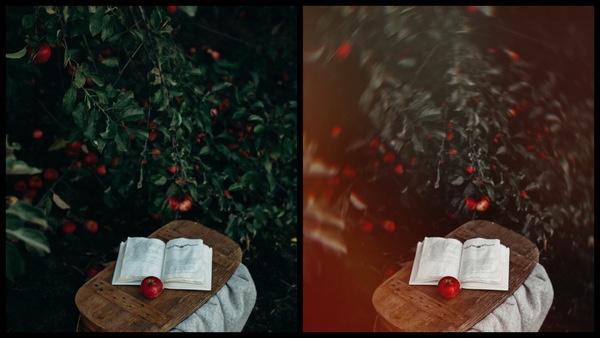 Montagem com 2 fotos do livro com uma maçã mostrando o antes e depois da edição.