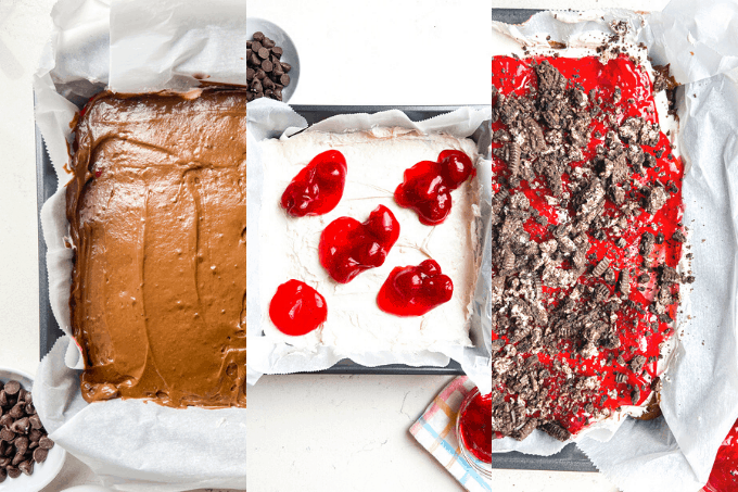 Three different stages of a no bake dessert.