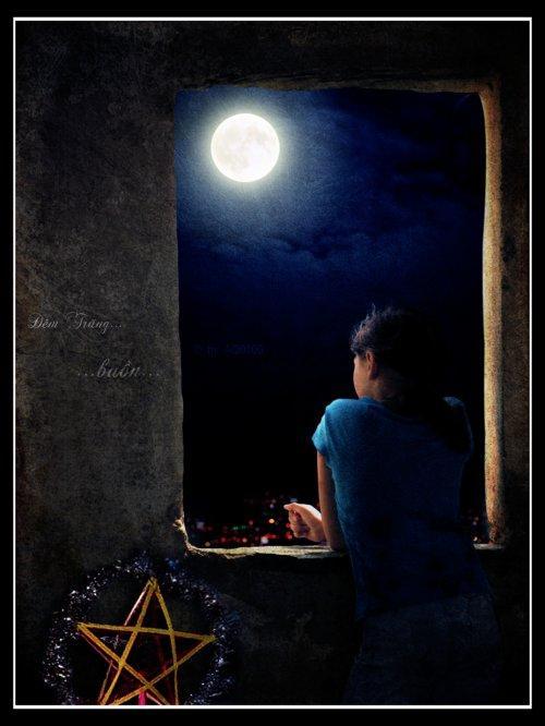 Kết quả hình ảnh cho ngắm trăng một mình