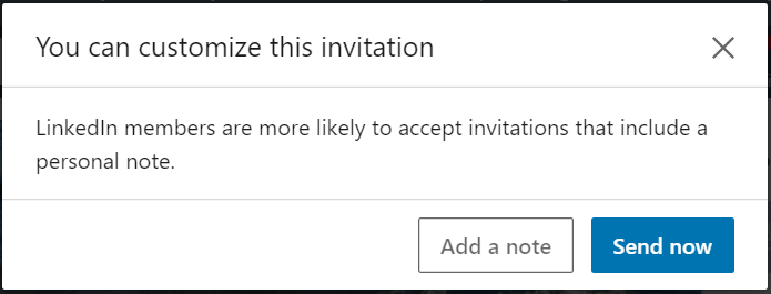 LinkedIn lets you customize your connection invitations