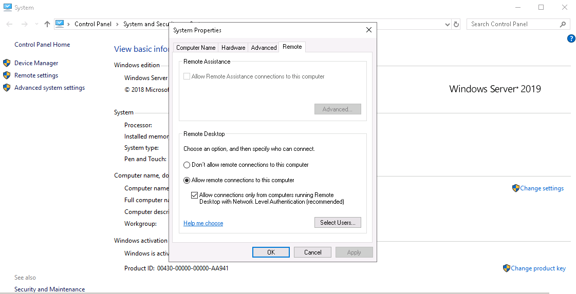 device redirection settings in windows server