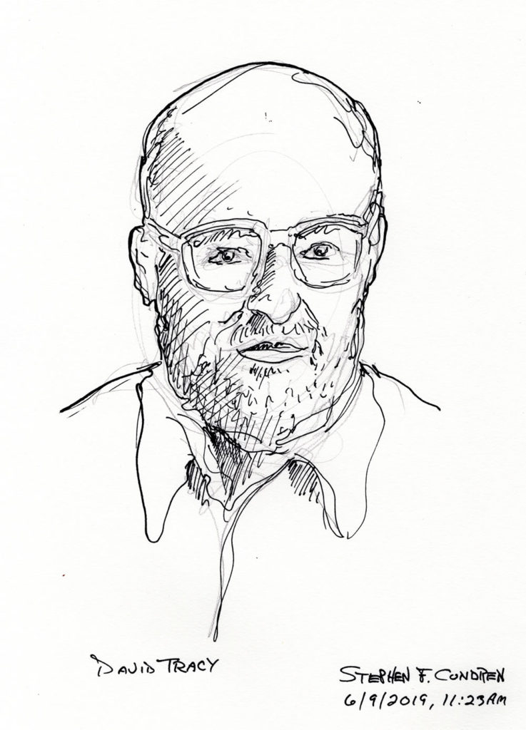 Pen & ink drawing of Roman Catholic Theologian, Father David Tracy.