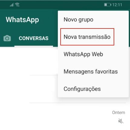 tela da lista de transmissão no WhatsApp para Android