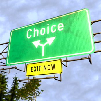 Road sign saying Choice, Exit now