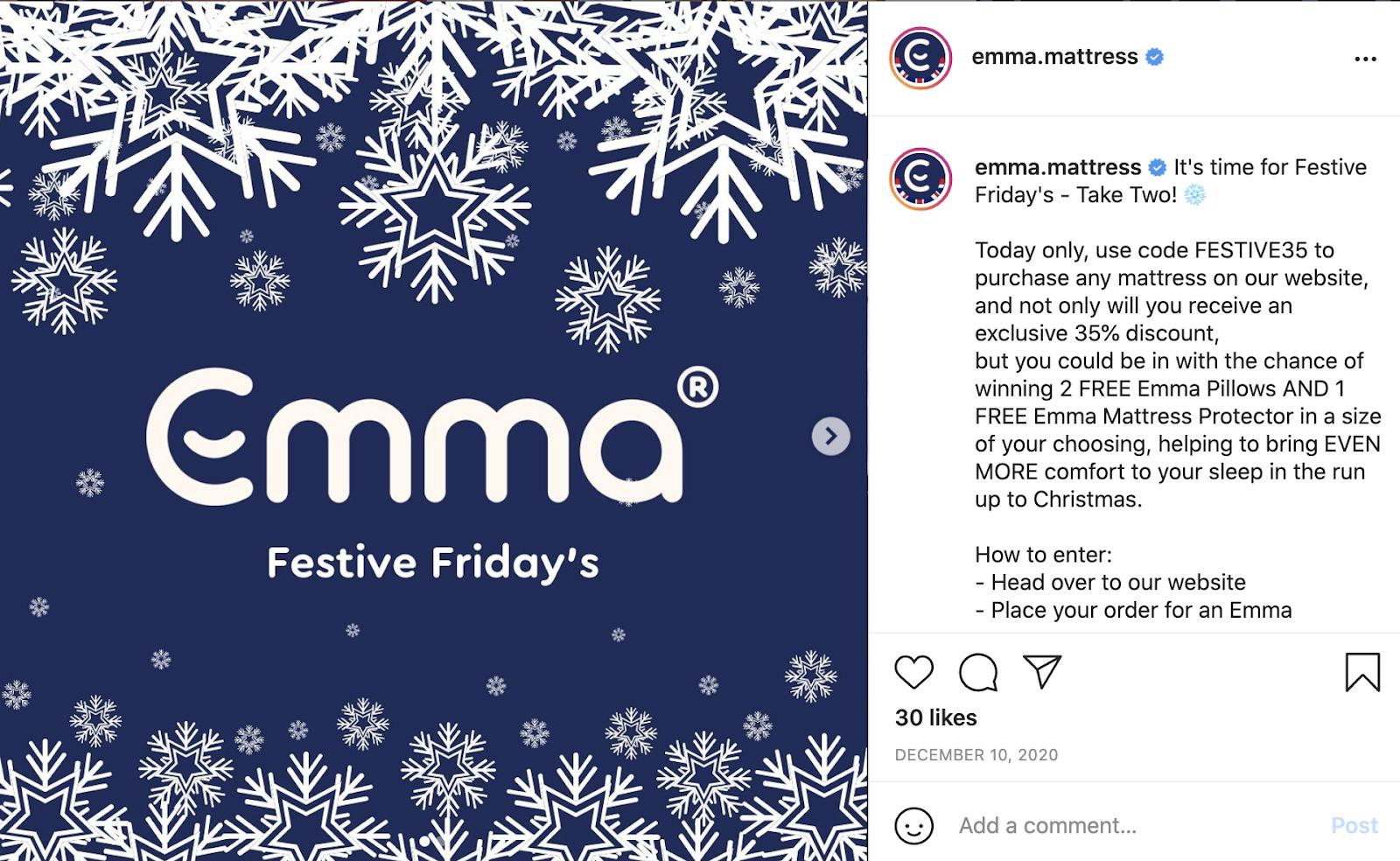 emma mattress christmas giveaway example