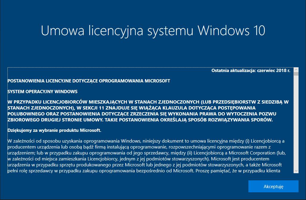 umowa licencyjna windows 10