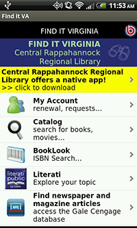 Central Rappahannock Regional Library in the Find It Virginia App