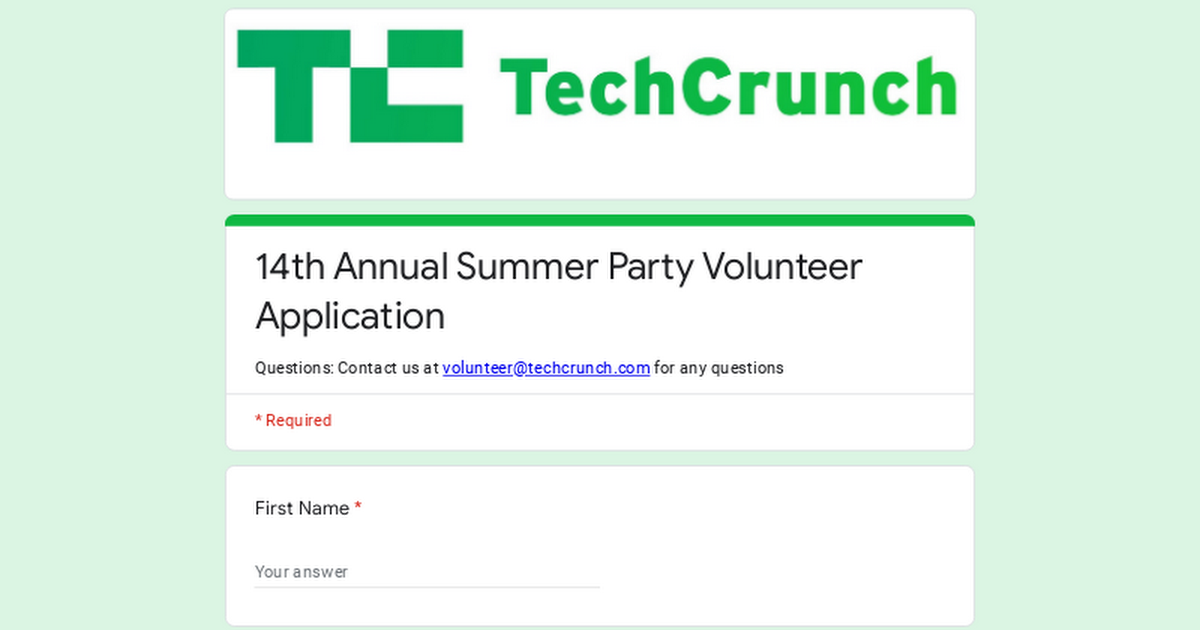 14th Annual Summer Party Volunteer Application