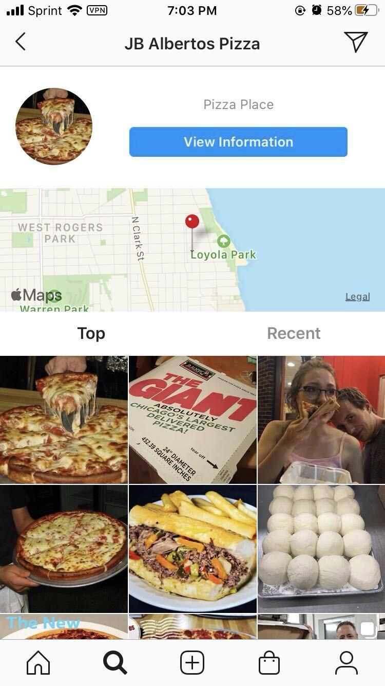 Screenshot of Instagram's map feature