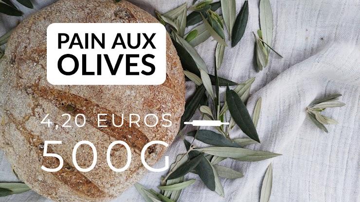 Ingrédients : farine de blé bio T80 et 10% de farine de seigle intégrale, du levain naturel de seigle, olives, sel de Guérande, eau.