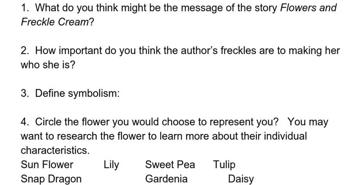 Flowers And Freckle Cream Comprehension Questions Google Docs