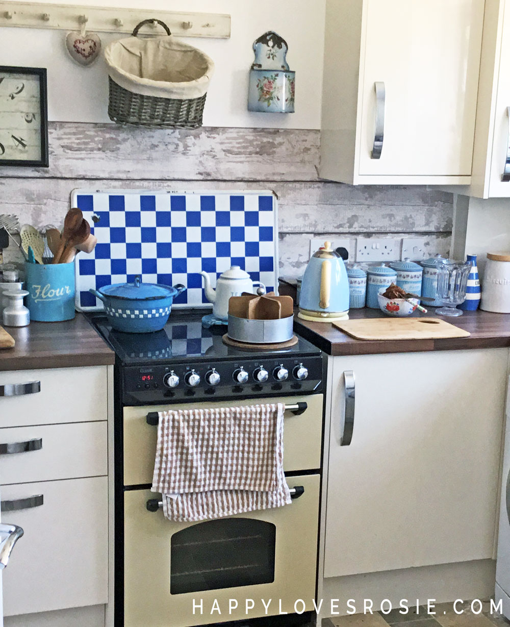 brown and blue enamel kitchen