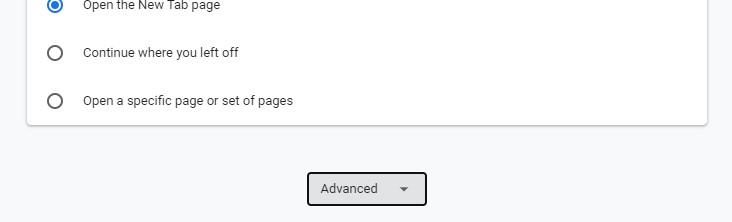The Advanced settings expanding window in Google Chrome