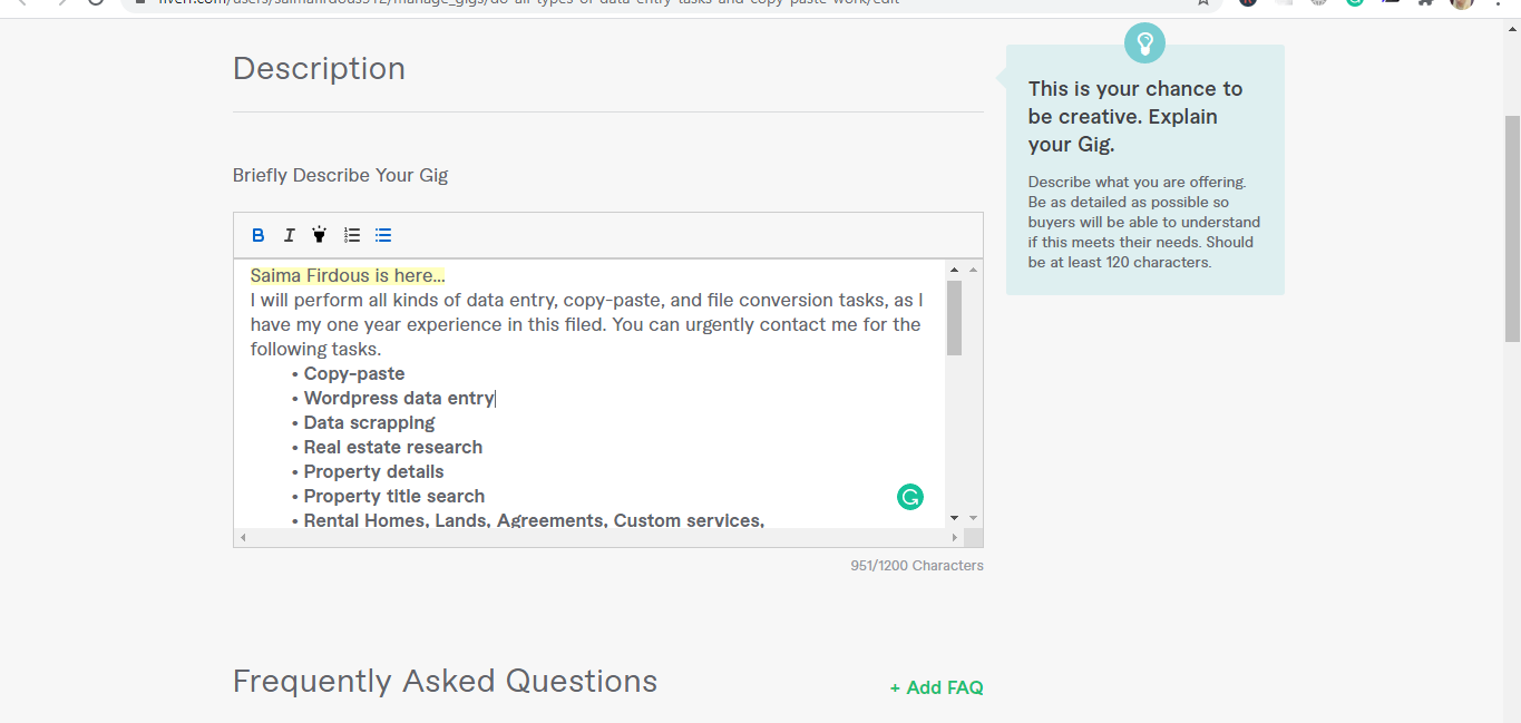 Screenshot of freelance writer describing the services offered in a Fiverr gig
