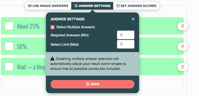 answer settings for each question