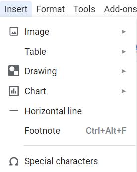 Insert Menu in Google Docs