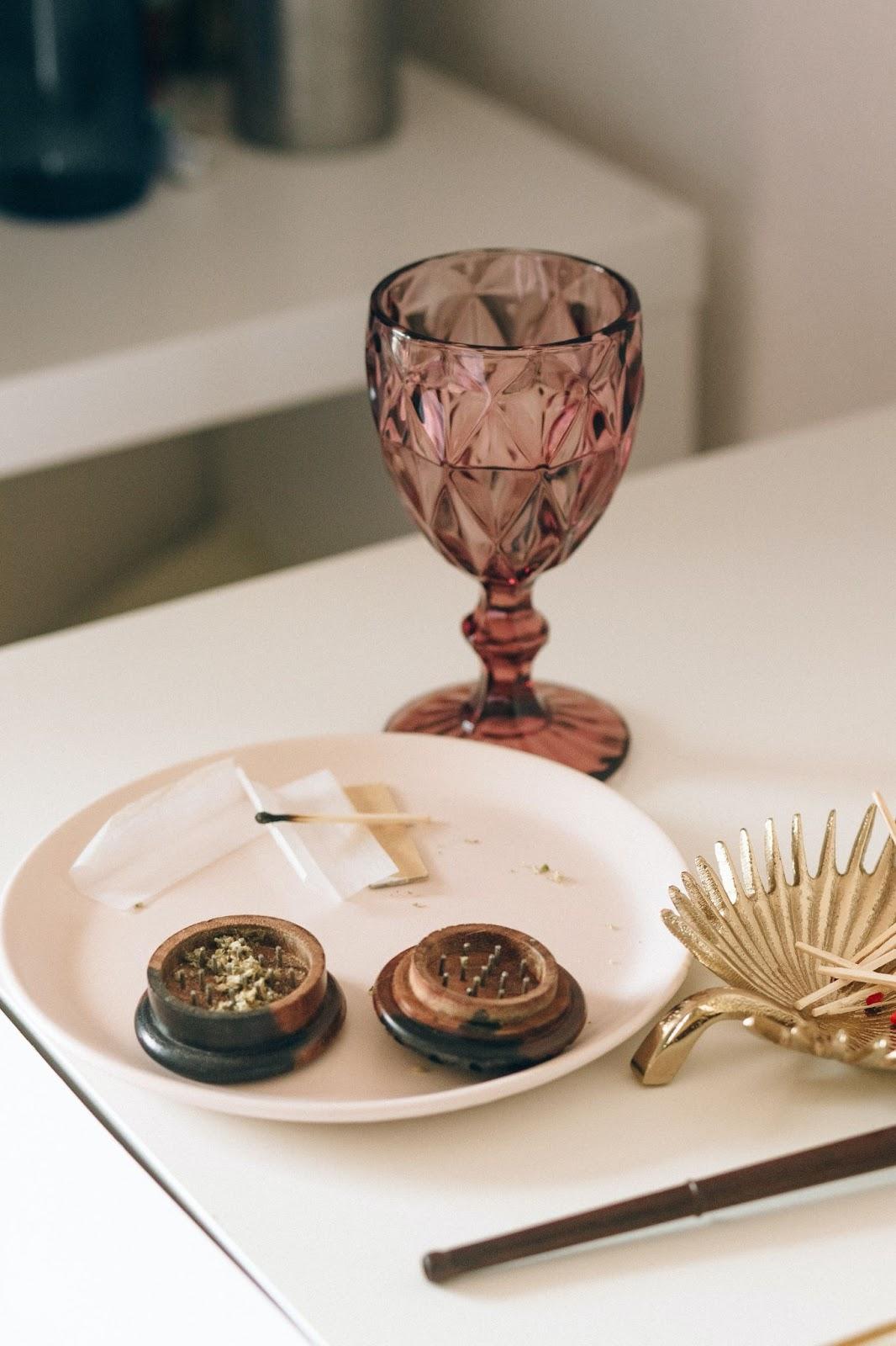 pink wine glass