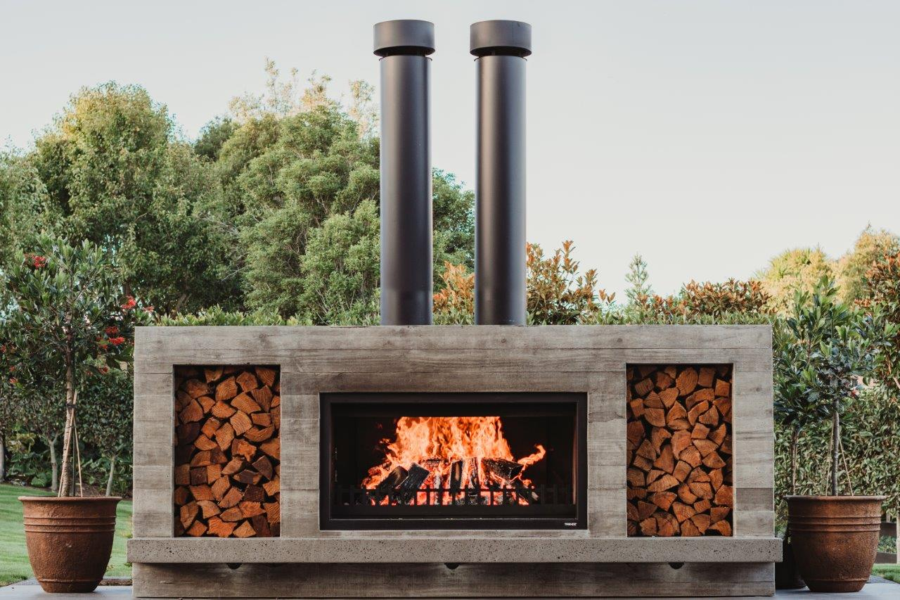 Twin chimney for the Twin Peak fireplace