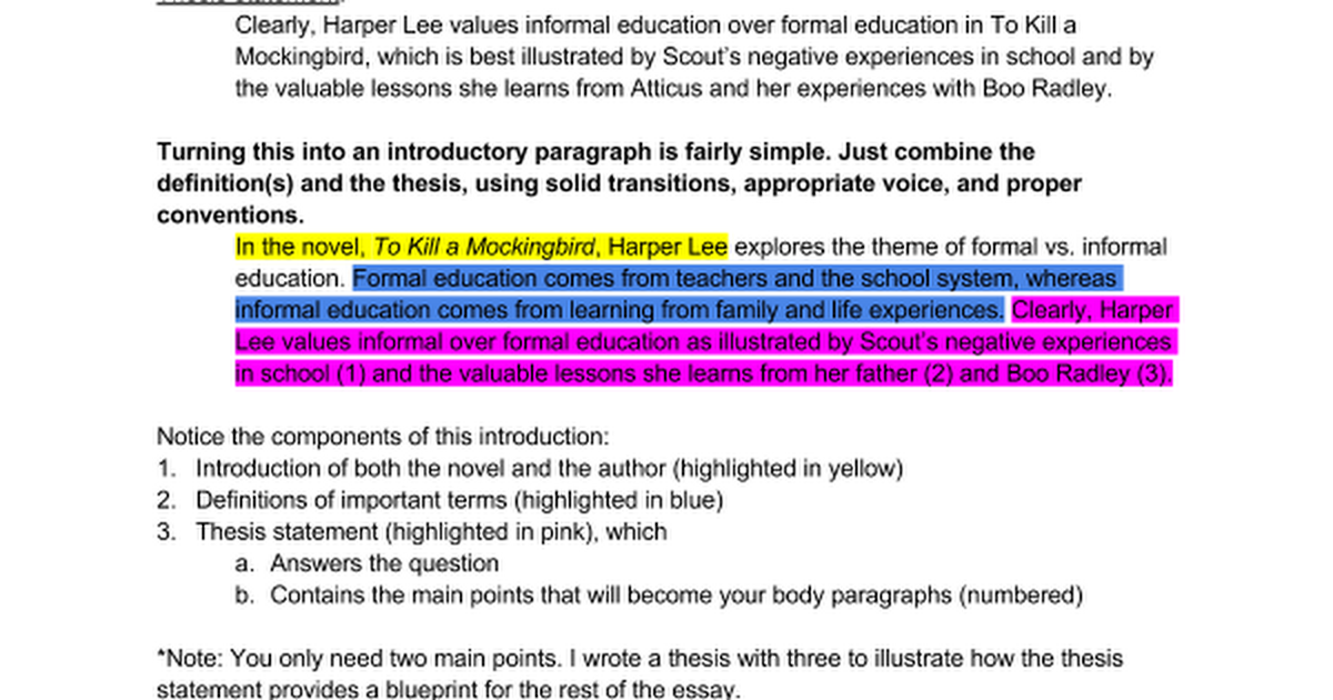 Sample introduction to tkam t e c essay google docs malvernweather Gallery