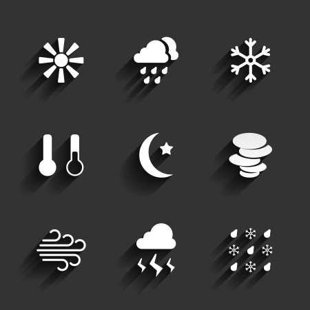 Weather icons. Sunny cloudy snow temperature