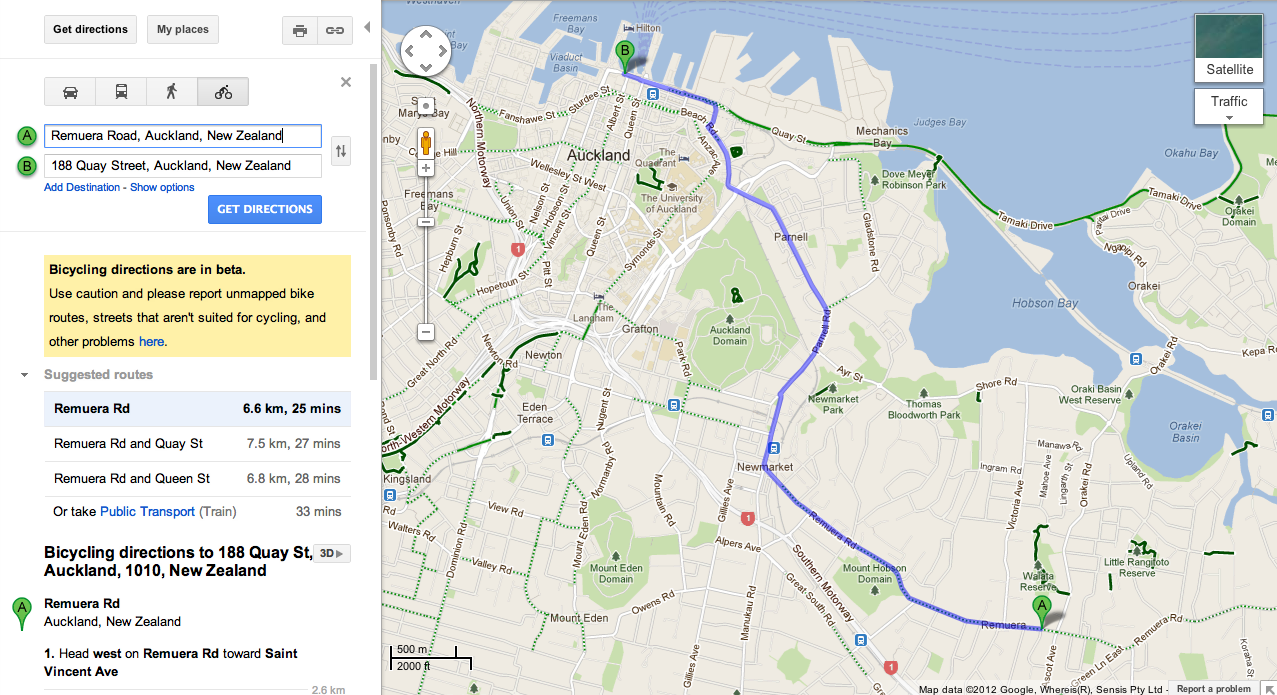 map maker and cycling directions available in new zealand