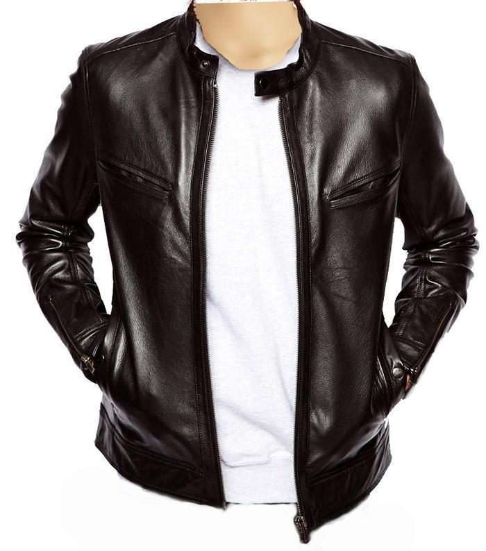 Plain black moto style jacket - Lusso Leather - 1