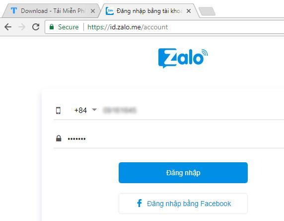 Sử dụng zalo đăng nhập trên máy tính